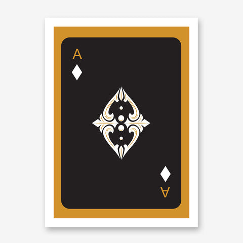 Poster print with black ace of diamonds playing card, on gold background.