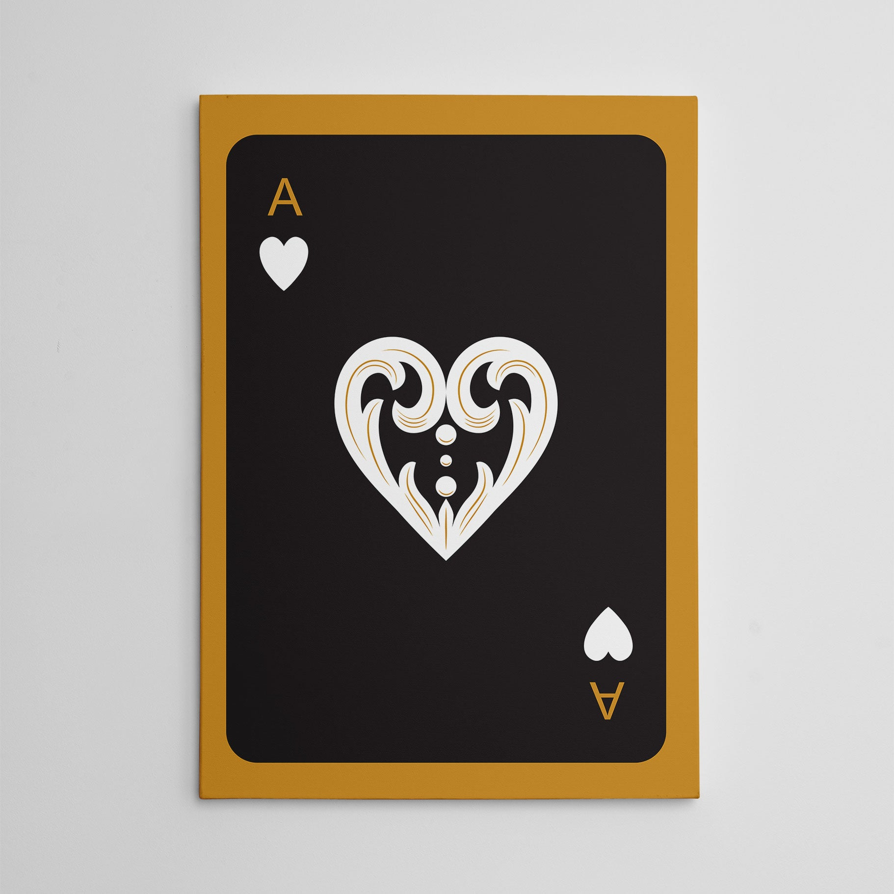 Canvas print with black ace of hearts playing card, on gold background.
