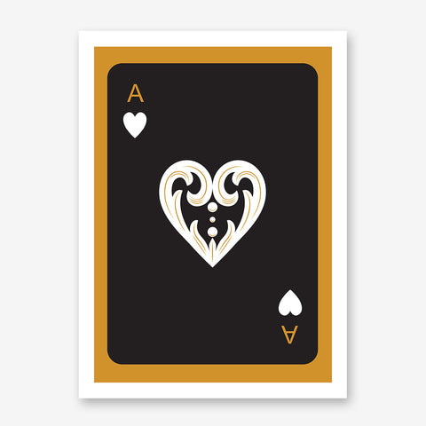 Poster print with black ace of hearts playing card, on gold background.