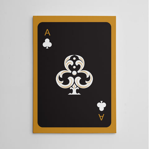 Canvas print with black ace of clubs playing card, on gold background.