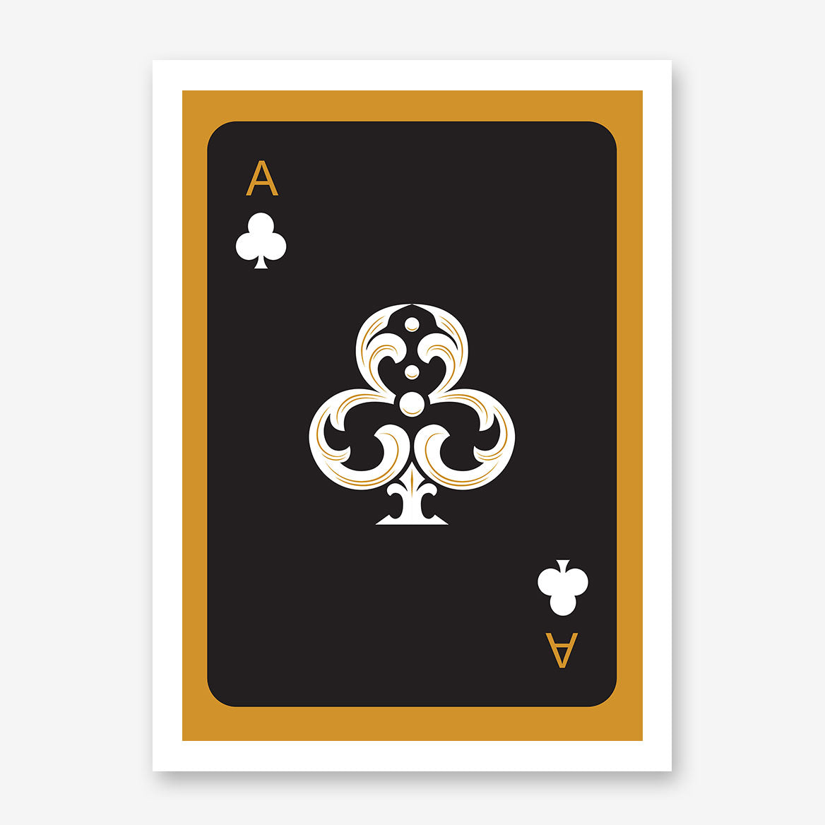 Poster print with black ace of clubs playing card, on gold background.
