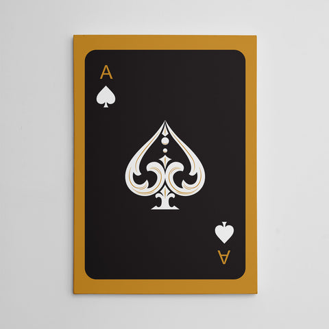 Canvas print with black ace of spades playing card, on gold background.