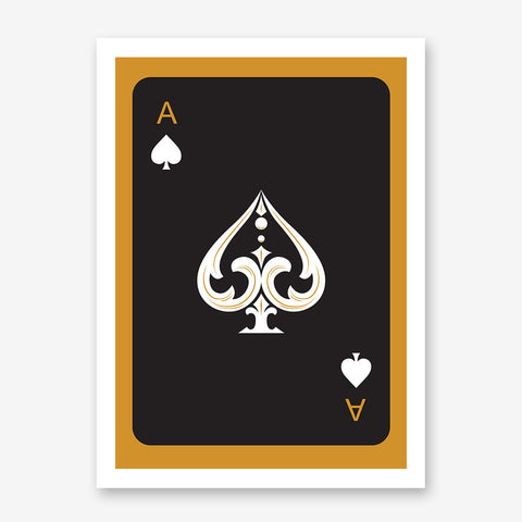 Poster print with black ace of spades playing card, on gold background.