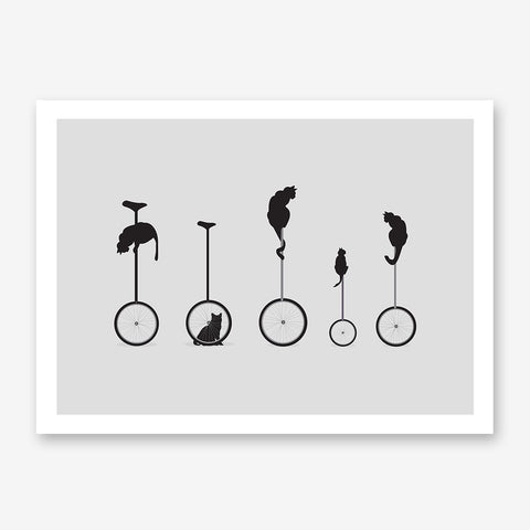 Minimalist illustration print with black cats on monocycle, on grey background.