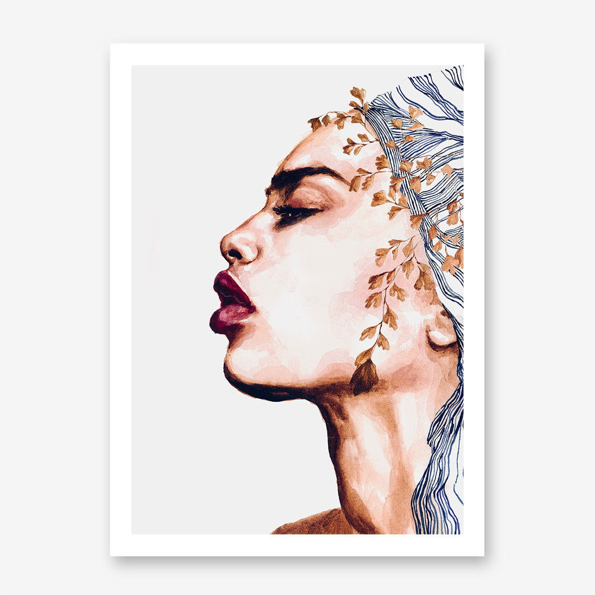 Fashion poster print with a woman's portrait with red lips and head wrap