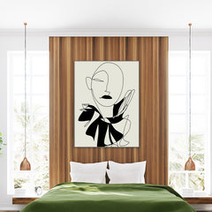 Abstract line art poster print by Sophia Novosel, with a woman's portrait in black, framed in bedroom