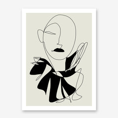 Abstract line art poster print by Sophia Novosel, with a woman's portrait in black