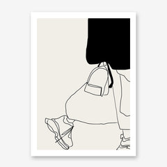 Fashion line art poster print by Sophia Novosel, with an abstract woman, in black and grey.
