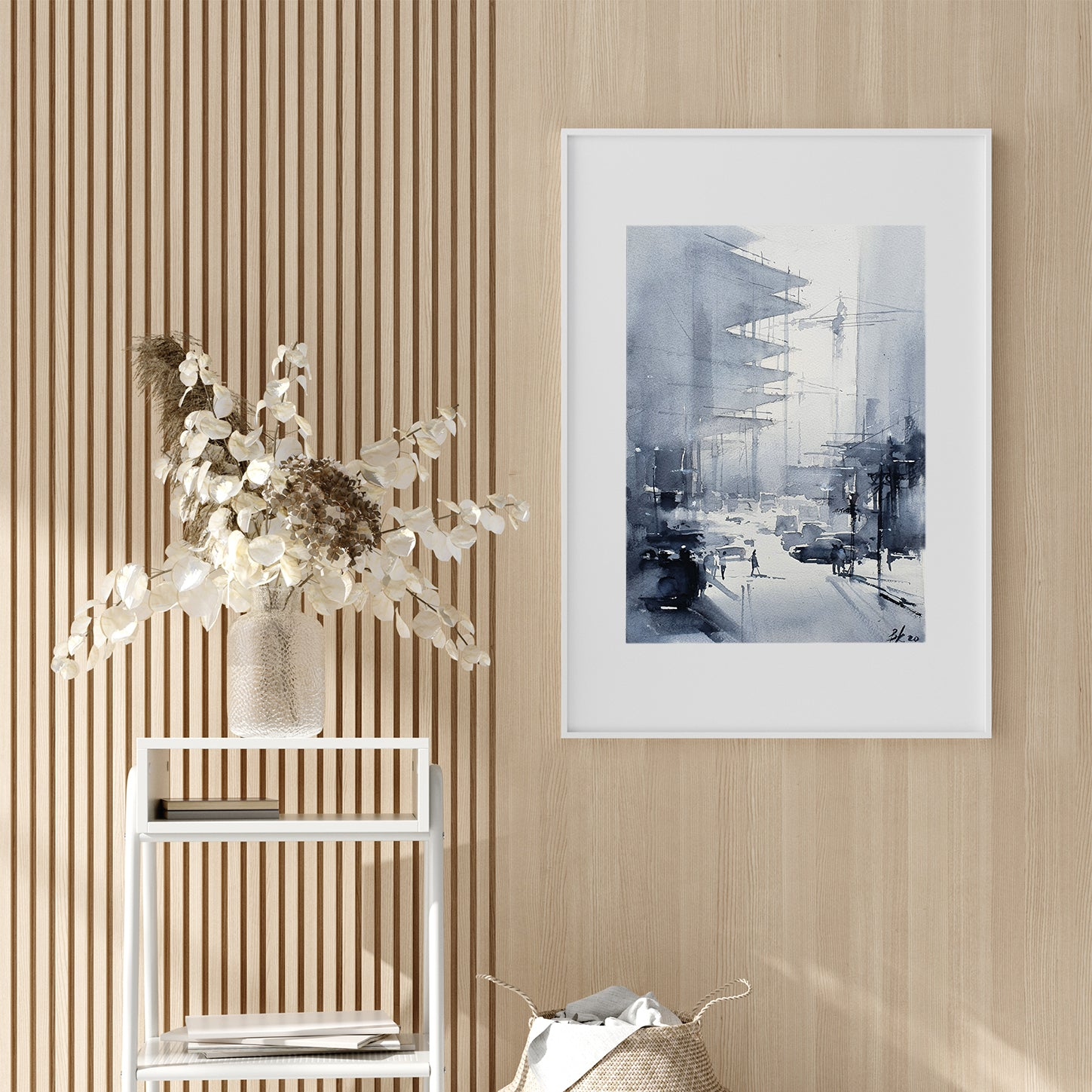 Abstract poster print with a city street, originally a watercolour painted artwork by Vera Kolgashkina, on hallway