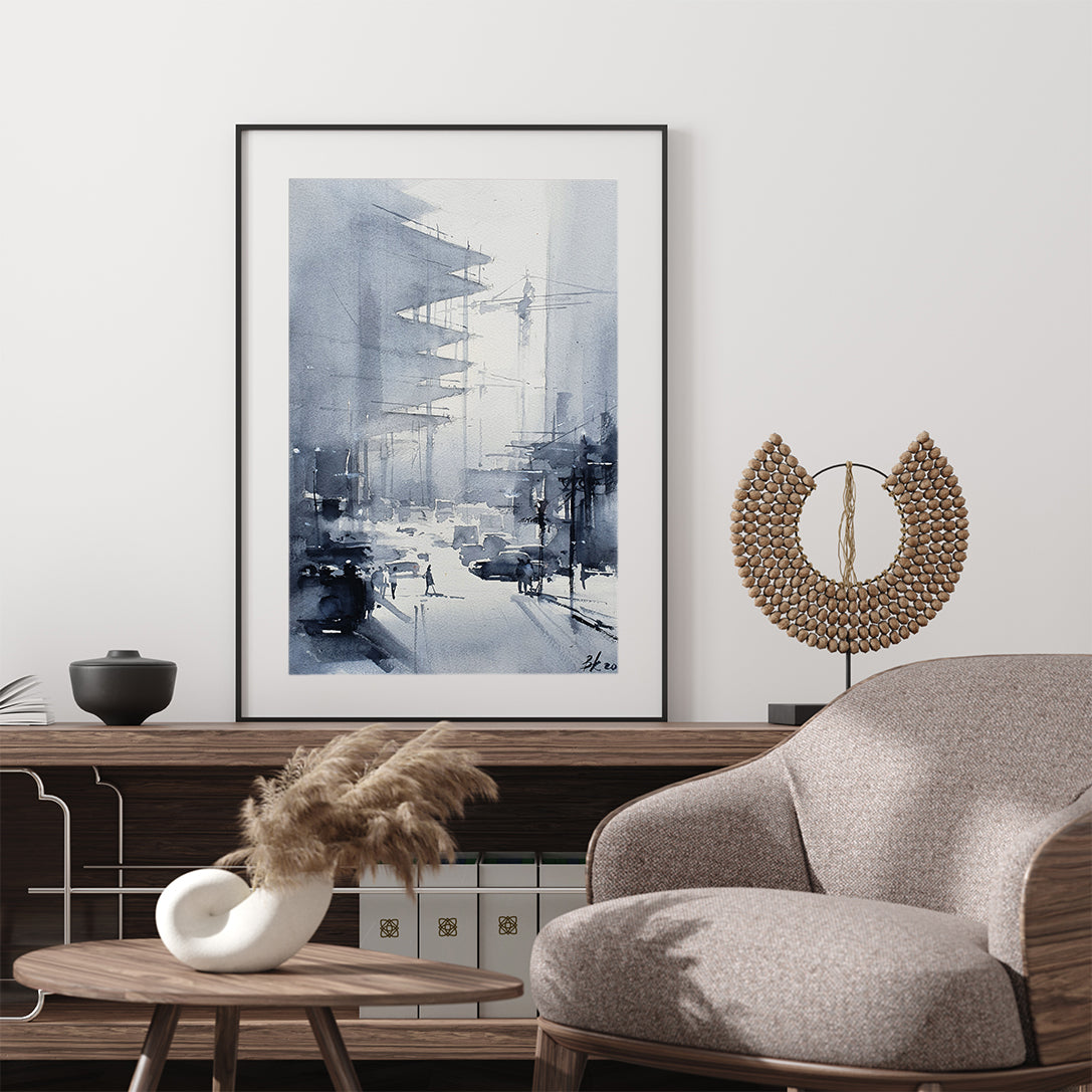 Abstract poster print with a city street, originally a watercolour painted artwork by Vera Kolgashkina, in living room