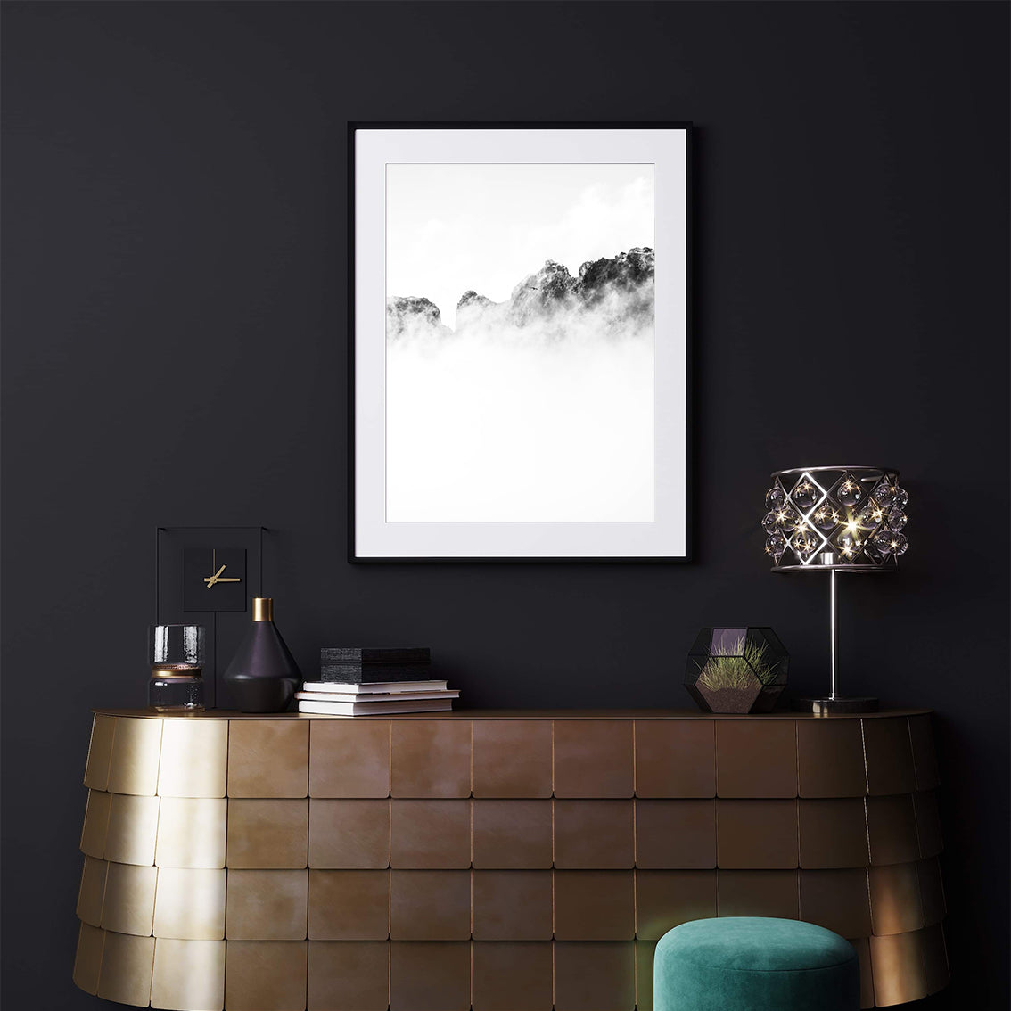 Black and white photo poster print with a bird flying over cloudy mountains, in living room