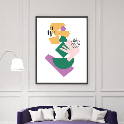 Geometrical print by Linda Gobeta, with colourful shapes, on white background, living room view