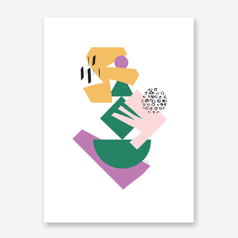 Geometrical print by Linda Gobeta, with colourful shapes, on white background