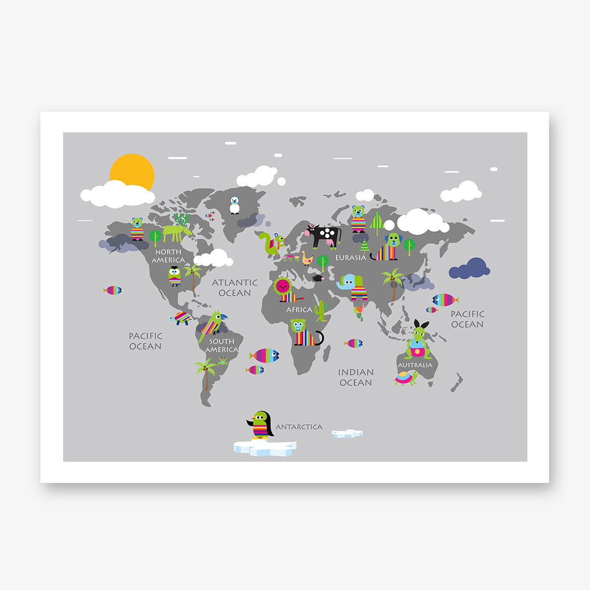 Kids world map poster print with rainbow coloured animals, on grey background.