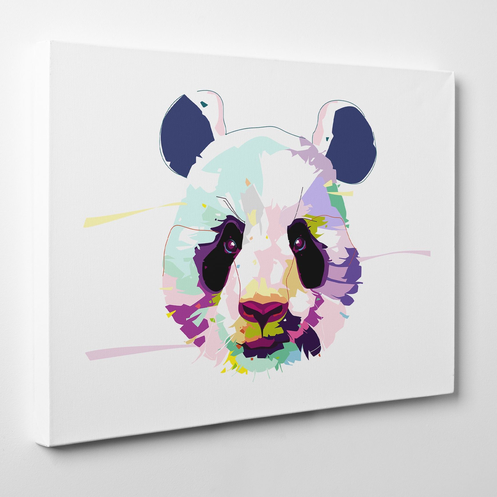 Canvas print with colourful panda portrait, on a white background - side view