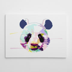 Canvas print with colourful panda portrait, on a white background.