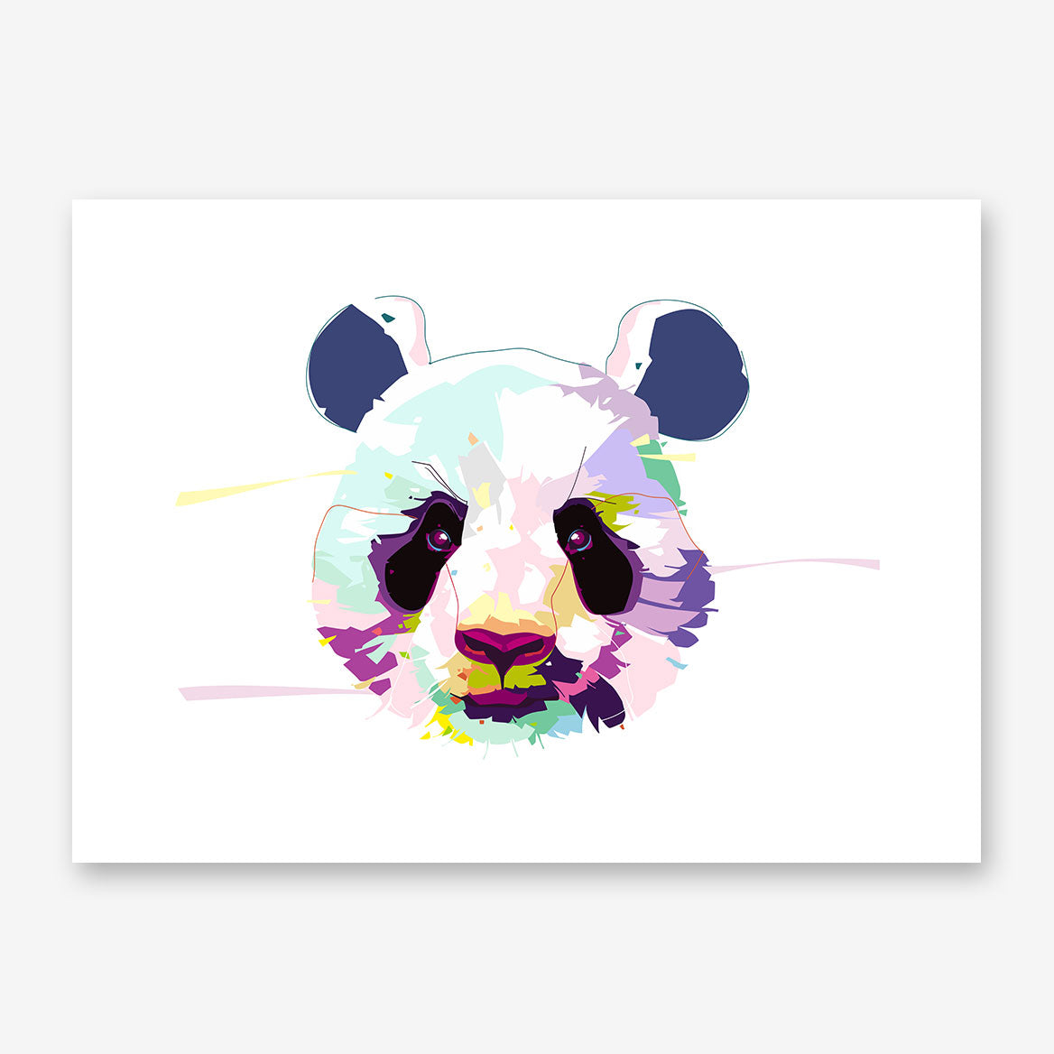 Poster print with colourful panda portrait, on a white background.