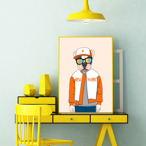 Fashion poster print with a cool dressed dog with sunglasses, on light orange background - room view