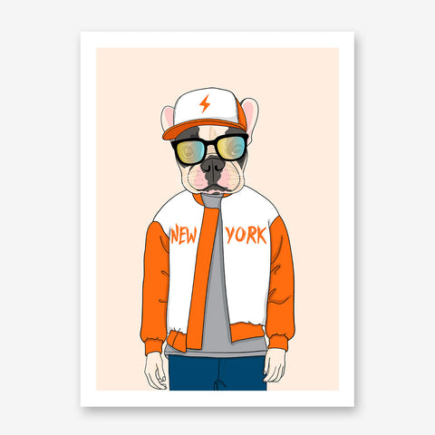 Fashion poster print with a cool dressed dog with sunglasses, on light orange background