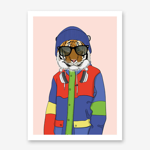 Fashion poster print with a cool dressed tiger with sunglasses, on pink background