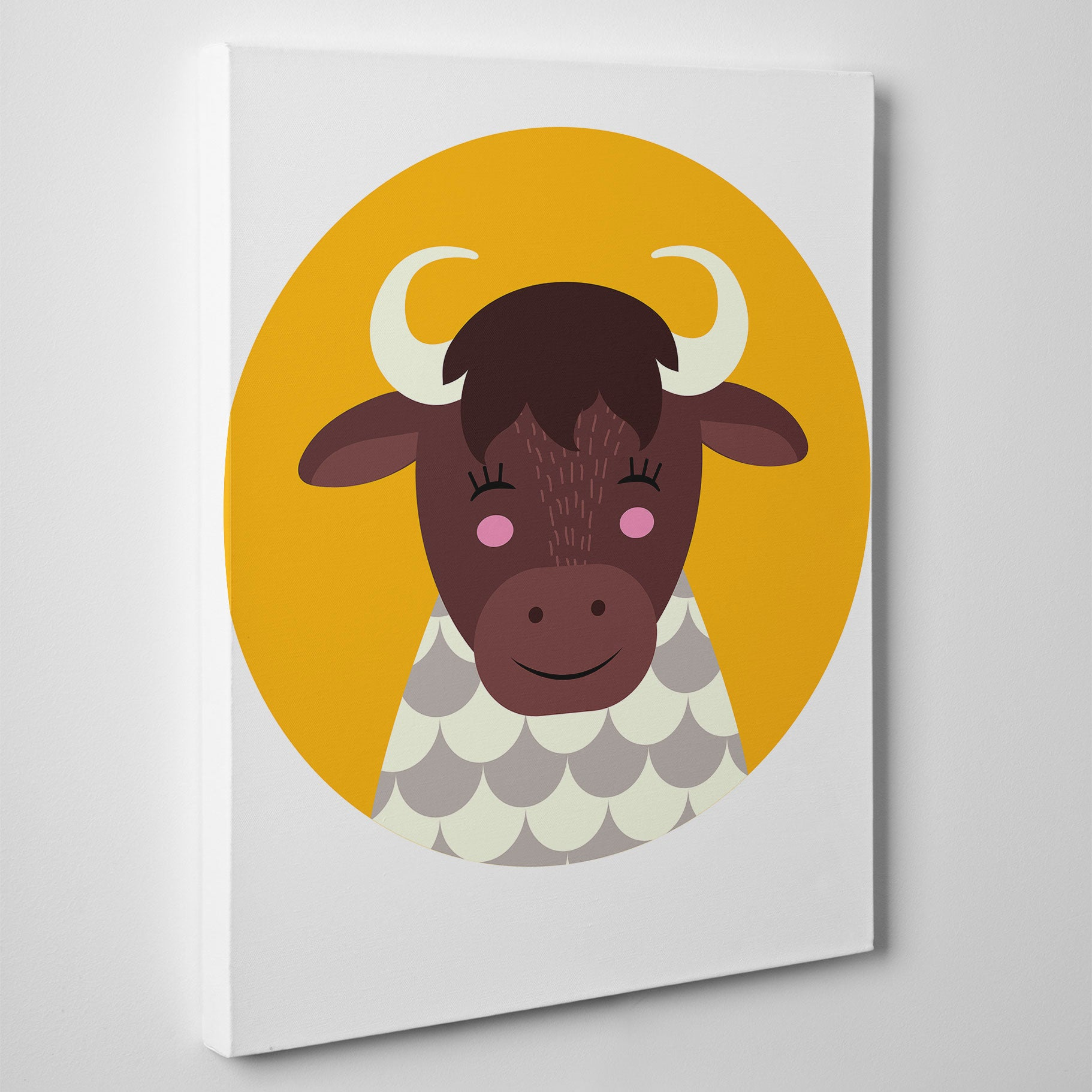 Nursery canvas print with a smiley cow in a yellow circle - side view