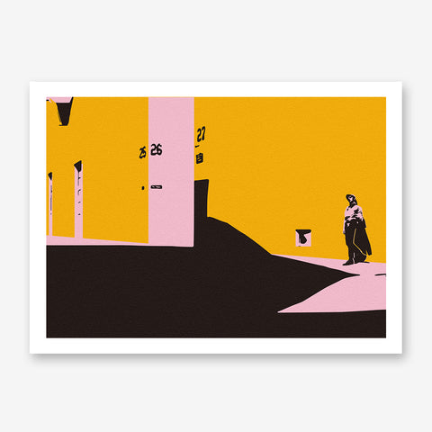 Abstract poster print by Robert Farkas, with pink, mustard and brown scene, on textured background.