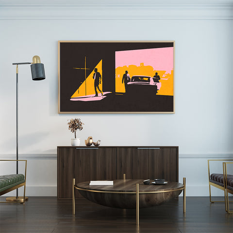 Abstract poster print with 3 men and a car, on pink, mustard and brown textured background, in waiting room