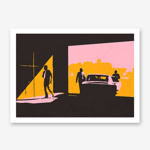 Abstract poster print with 3 men and a car, on pink, mustard and brown textured background.