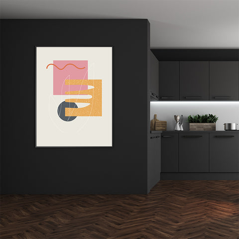 Geometrical print by Linda Gobeta, with colourful shapes, on grey background, dining room view