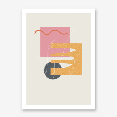 Geometrical print by Linda Gobeta, with colourful shapes, on grey background