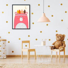 Nursery poster print by Kubistika, with pink indian bear and autumn leaves, on beige background, in nursery