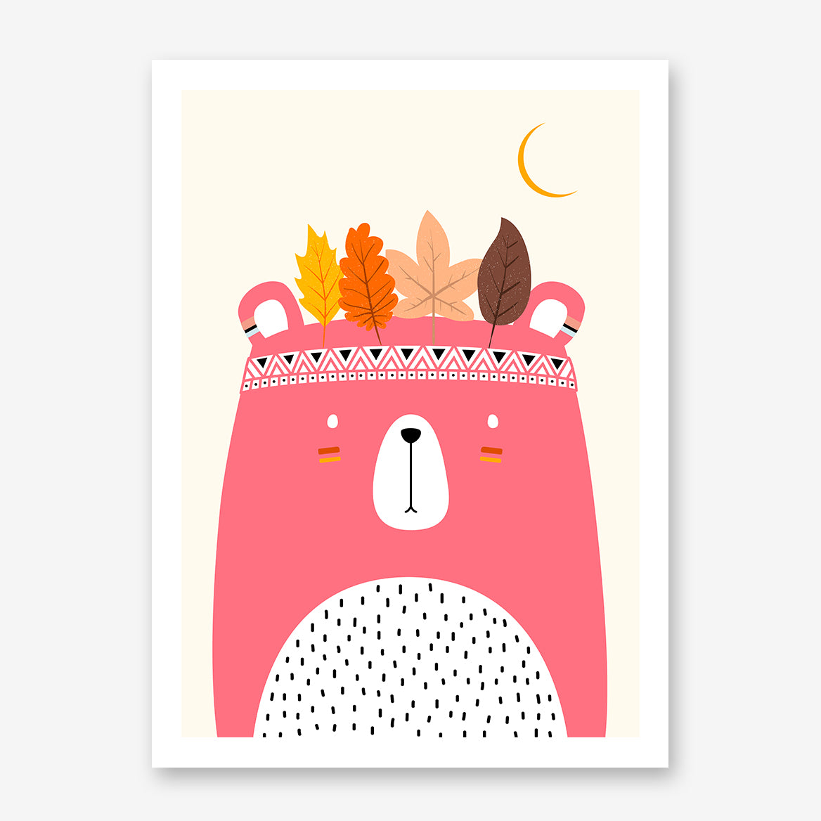 Nursery poster print by Kubistika, with pink indian bear and autumn leaves, on beige background.