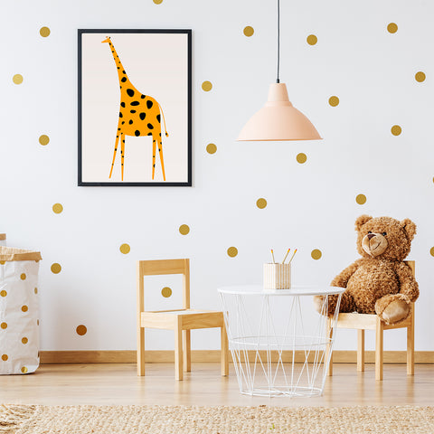 Nursery poster print by Kubistika, with yellow and black giraffe, on light grey background, kids room view