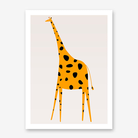 Nursery poster print by Kubistika, with yellow and black giraffe, on light grey background.