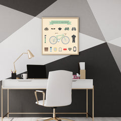Poster print with cyclist's equipment elements, on beige background, wall view