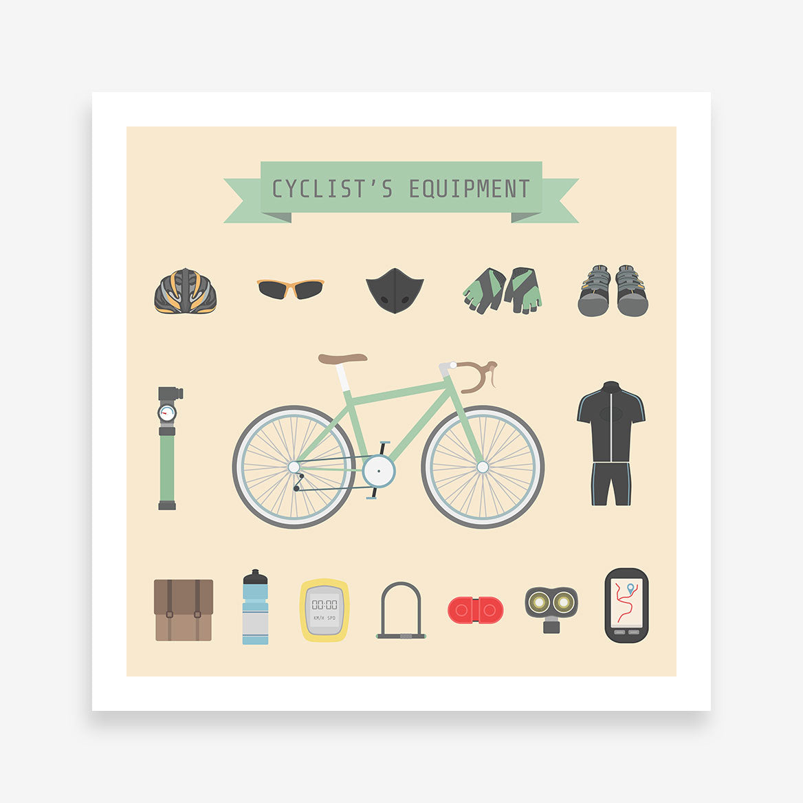 Poster print with cyclist's equipment elements, on beige background