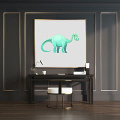 wall art print with a cute green Brontosaurus dinosaur on grey background