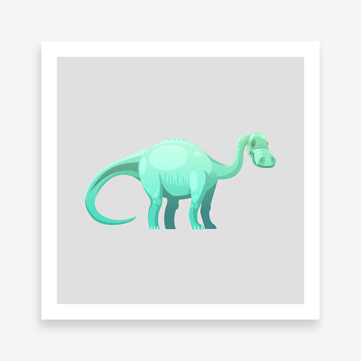 Poster print with a cute green Brontosaurus dinosaur on grey background