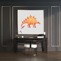 Poster print with a cute orange Stegosaurus dinosaur on grey background, wall view