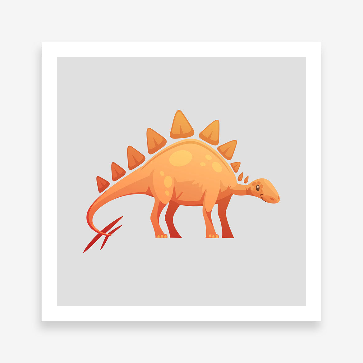 Poster print with a cute orange Stegosaurus dinosaur on grey background.