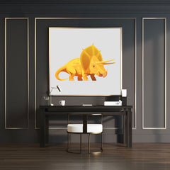 Wall art with a yellow Triceratops dinosaur and grey background