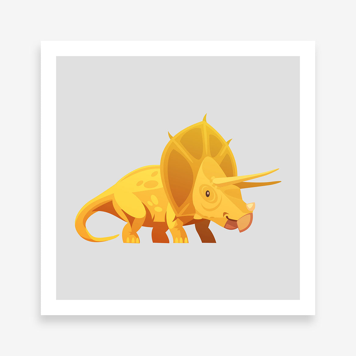 Poster print with a yellow Triceratops dinosaur and grey background