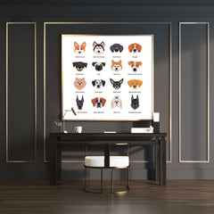 Square poster print with dog breeds name and images - room view