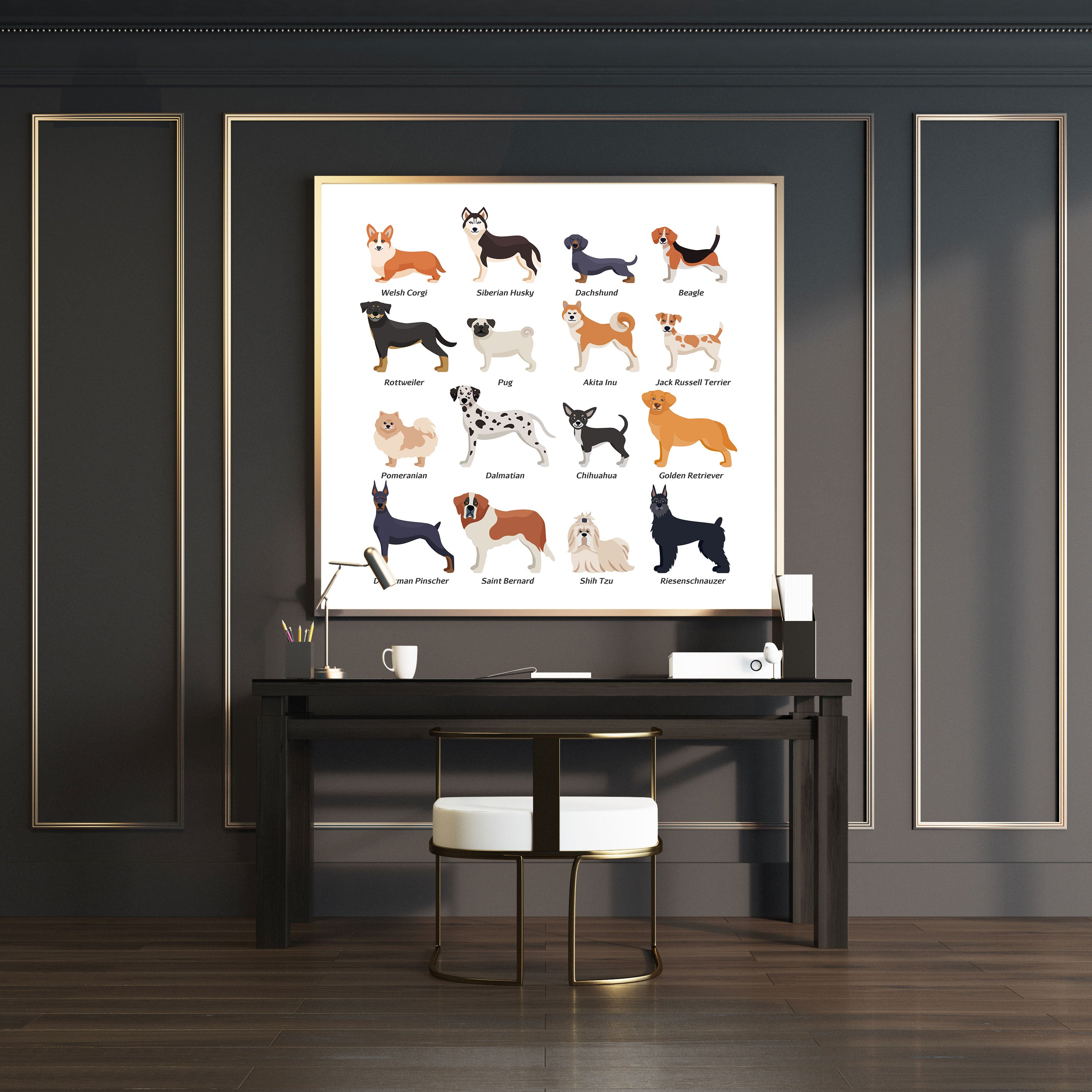 Square wall art print with dog breeds name and images