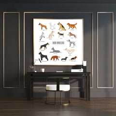Square wall art with dog breeds name and images