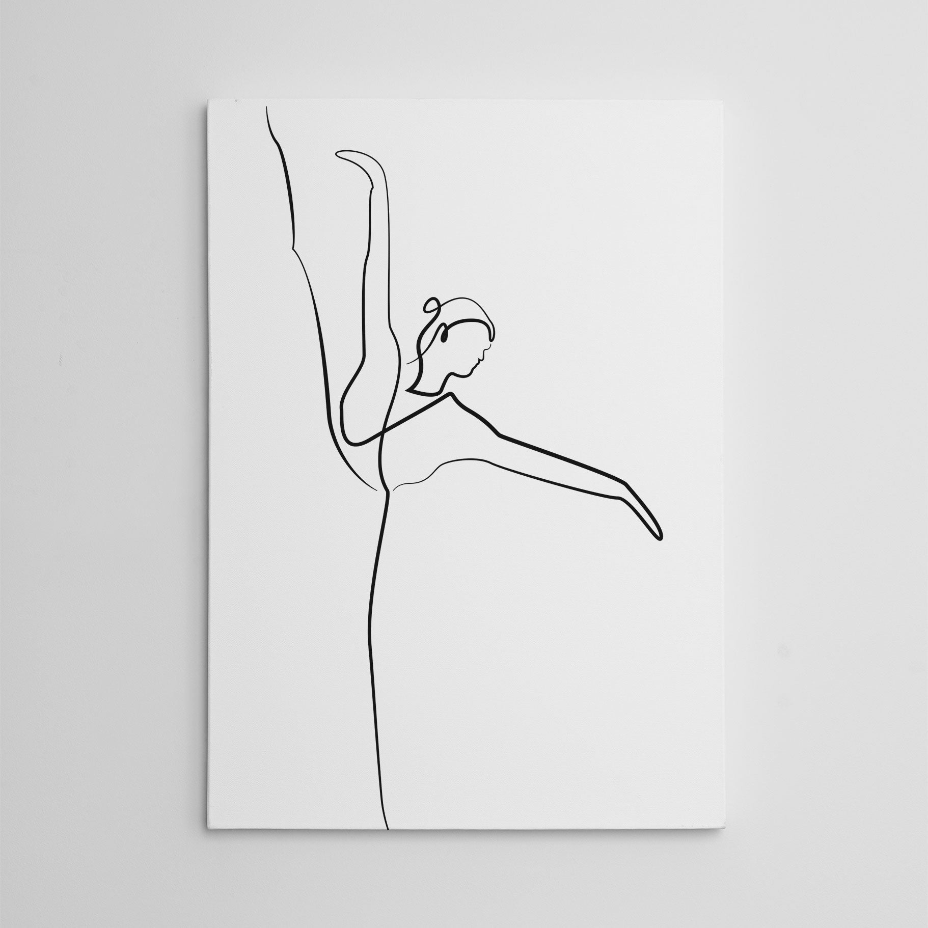 Beautiful line art canvas print with dancing ballerina.