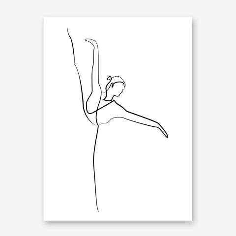 Line art poster print with dancing ballerina
