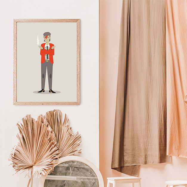 Celebrity illustration print with David Bowie stylishly drawn by Judy Kaufmann to bring out the essence of his style and character, in living room