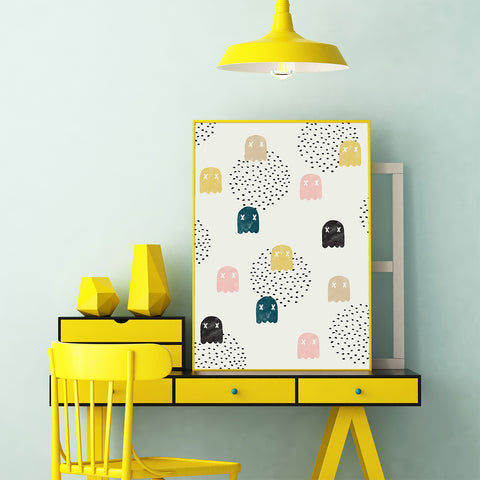 Pattern poster print by Robert Farkas, with colourful ghosts, on light grey background, in teen's room