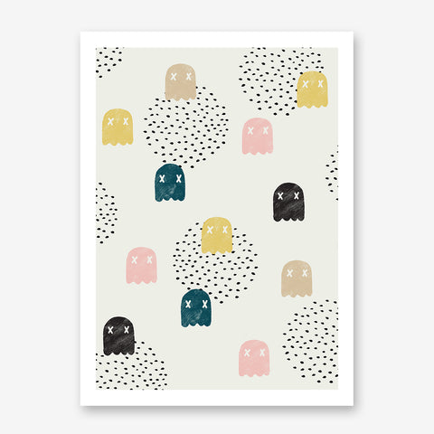 Pattern poster print by Robert Farkas, with colourful ghosts, on light grey background